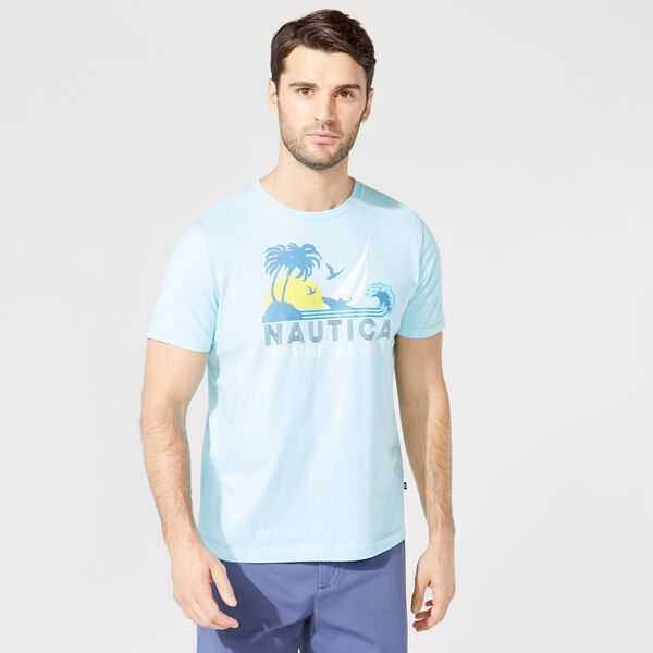PALM TREE GRAPHIC T-SHIRT - Light Tide Water Wash