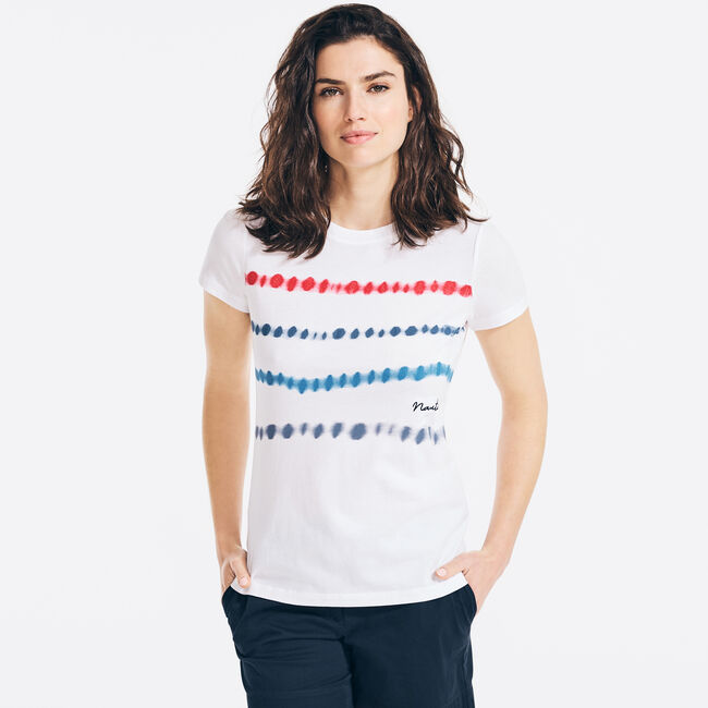 TIE-DYE STRIPED GRAPHIC T-SHIRT,Bright White,large