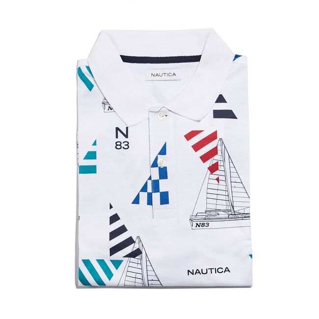CLASSIC FIT PRINTED POLO IN GEO SAILING PRINT,Bright White,large