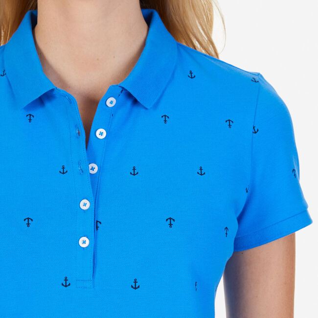 Anchor Motif Classic Fit Polo,Naval Blue,large