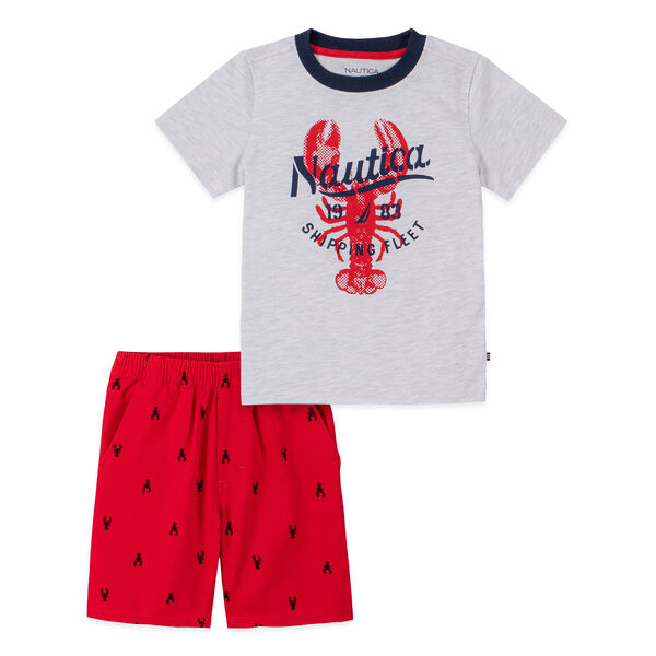 TODDLER BOYS' LOBSTER GRAPHIC T-SHIRT 2PC PRINTED SHORT SET (2T-4T) - Ice Grey Heather