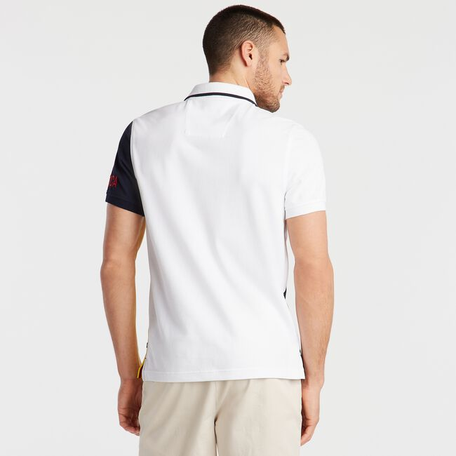 SLIM FIT POLO IN DIAGONAL COLORBLOCK,Bright White,large