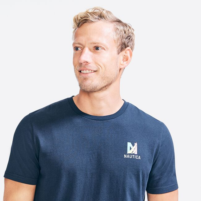 SUSTAINABLY CRAFTED GOOD VIBES GRAPHIC T-SHIRT,Navy,large