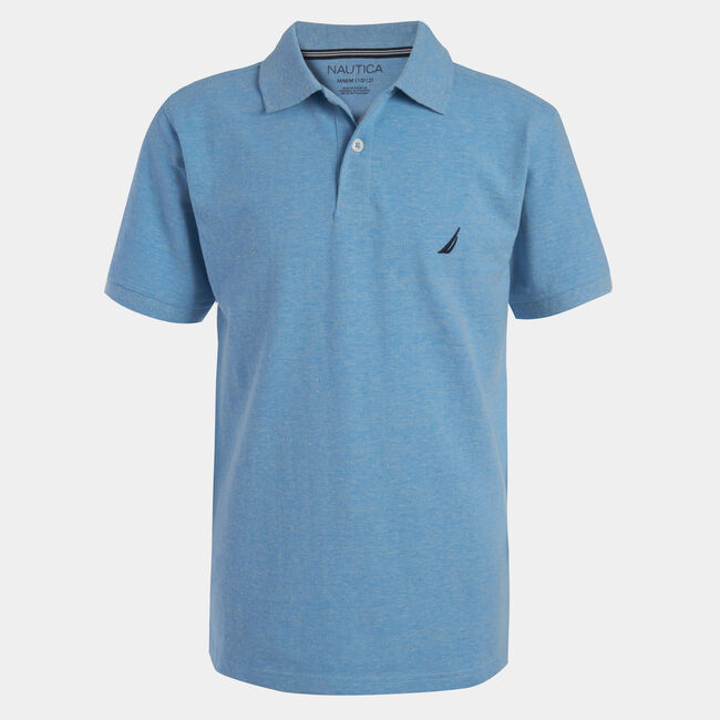 BOYS' ANCHOR HEATHERED POLO (8-20),Star Turquoise,large