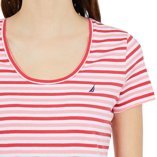 Striped Scoop-Neck T-Shirt,Buoy Red,large