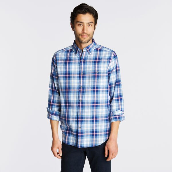 PLAID BRUSHED TWILL SHIRT - Riviera Blue