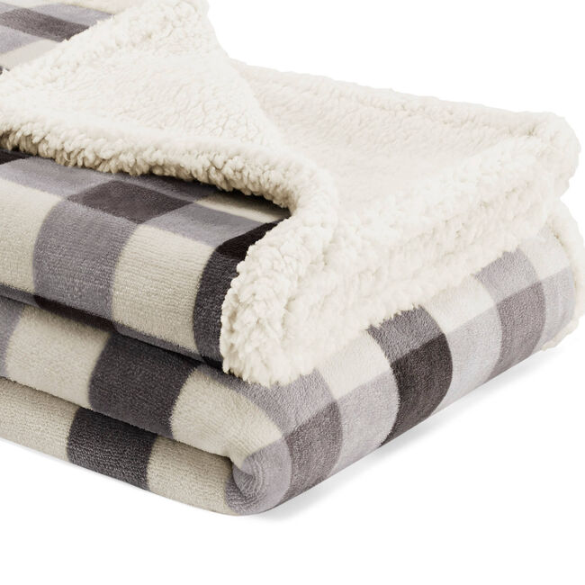 Gratton Ultra-Soft Plush Throw Blanket in Charcoal Plaid,Charcoal Heather,large