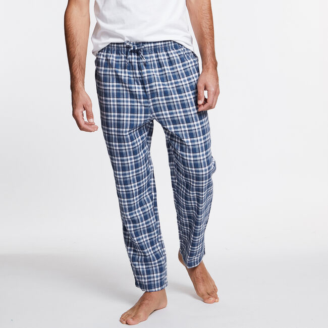 Flannel Tattersail Plaid Pajama Pants,Lakeside Blue Wash,large