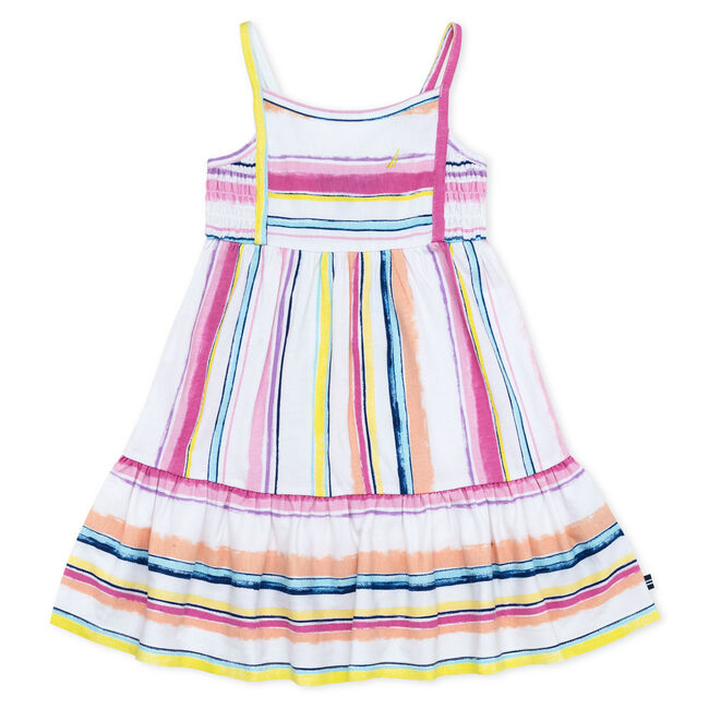 GIRLS' JERSEY DRESS IN STRIPES,Pale Pink,large