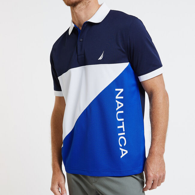 SHORT SLEEVE COLOR BLOCK PERFORMANCE POLO IN CLASSIC FIT,Bright Cobalt,large