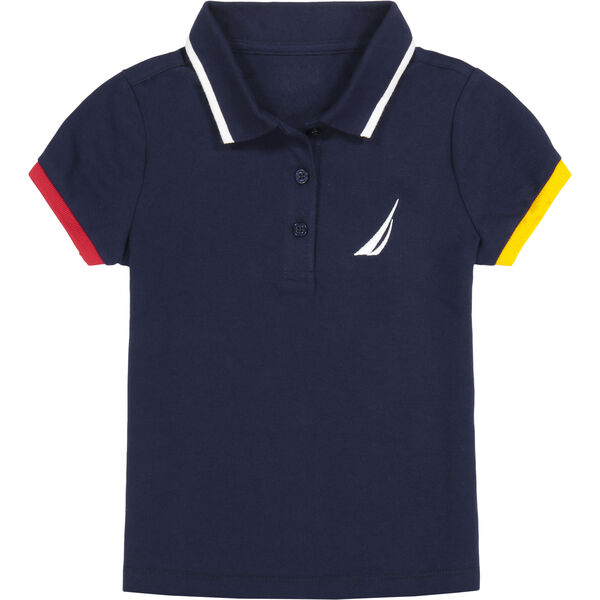TODDLER GIRLS' CONTRAST-TRIM POLO (2T-4T) - Navy