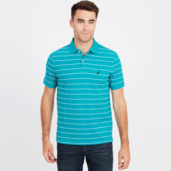 Classic Fit Mesh Polo in Breton Stripe - Biscayteal