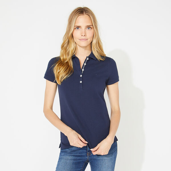 CLASSIC FIT POLO SHIRT WITH CHAMBRAY BACKED COLLAR - Stellar Blue Heather