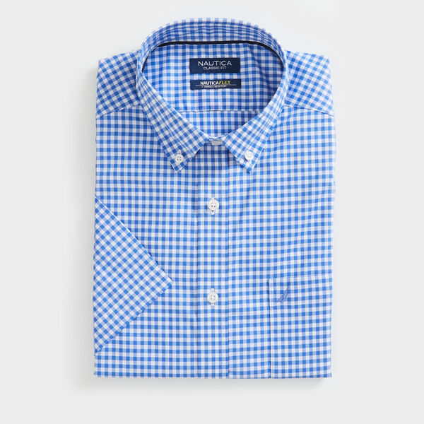 CLASSIC FIT WRINKLE-RESISTANT GINGHAM SHORT SLEEVE SHIRT - Rolling River Wash