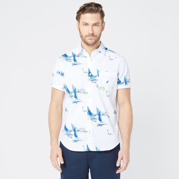 CLASSIC FIT LARGE BOAT PRINT SHIRT - Bright White