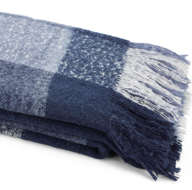 Large Throw Blanket in Indigo Plaid,Distressed Blue Wash,large