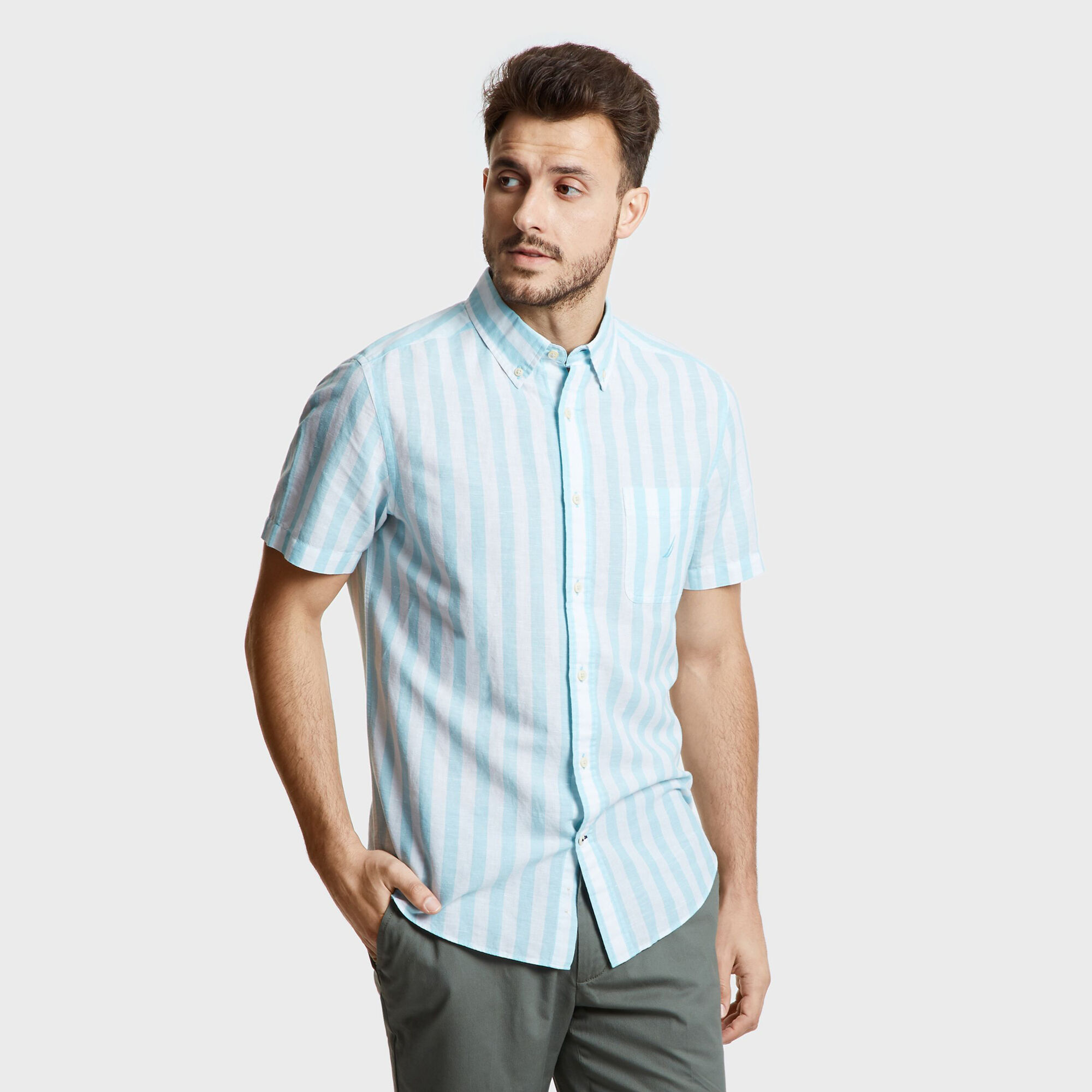 f591a76fa524b Details about Nautica Mens Short Sleeve Classic Fit Linen-Cotton Striped  Shirt