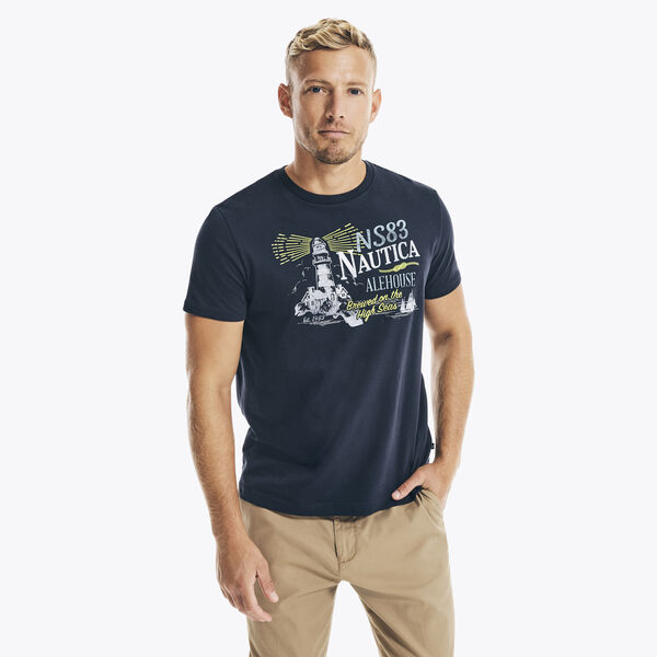 LIGHTHOUSE GRAPHIC T-SHIRT - Navy