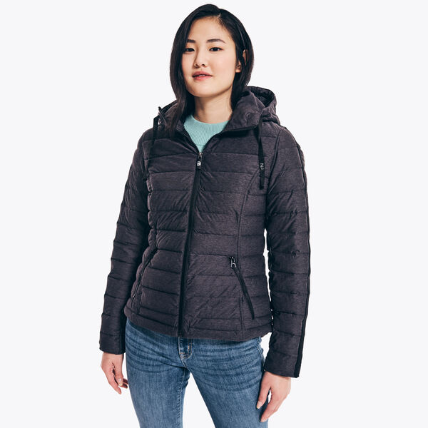 PACKABLE STRETCH HOODED JACKET - Grey Heather