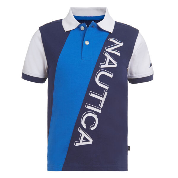 BOYS' COLORBLOCK DIAGONAL LOGO GRAPHIC POLO (8-20) - True Navy