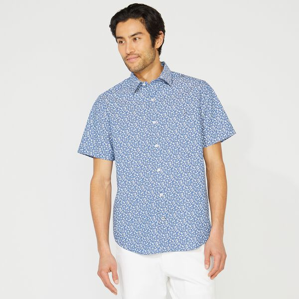 CLASSIC FIT WRINKLE-RESISTANT FLORAL PRINT SHORT SLEEVE SHIRT - Windsurf Blue
