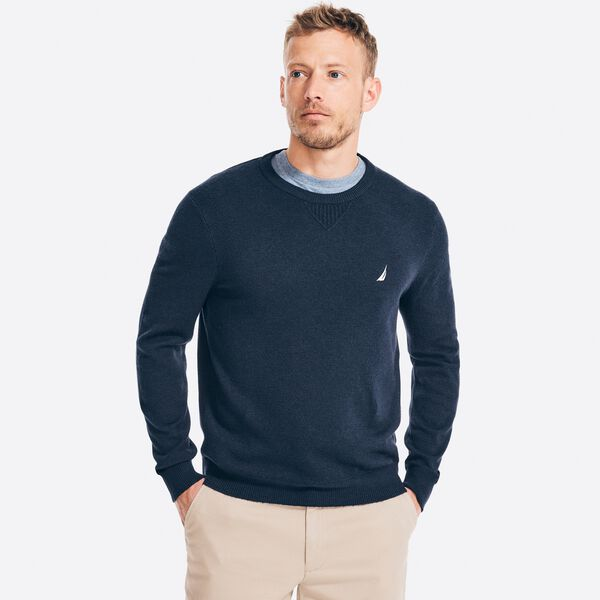 SUSTAINABLY CRAFTED CREWNECK SWEATER - Navy