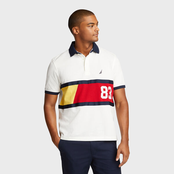 Classic Fit Tech Polo with Colorblock Stripe - Marshmallow