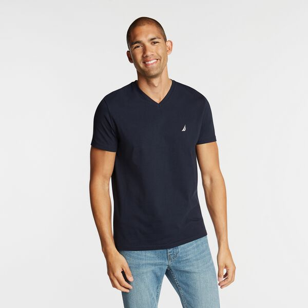 SOLID V-NECK T-SHIRT - Navy