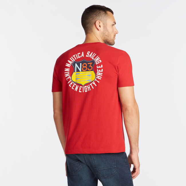 OAR CREST GRAPHIC T-SHIRT,Nautica Red,large