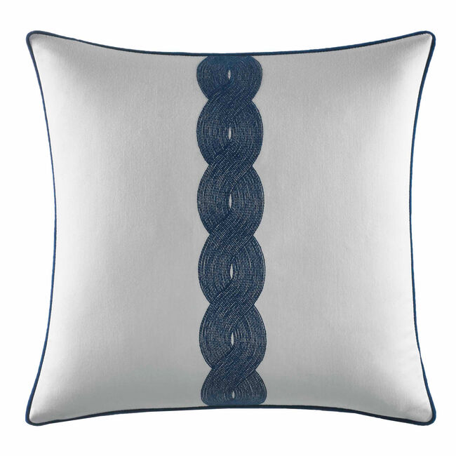 Rope Embroided Square Throw Pillow ,Navy,large