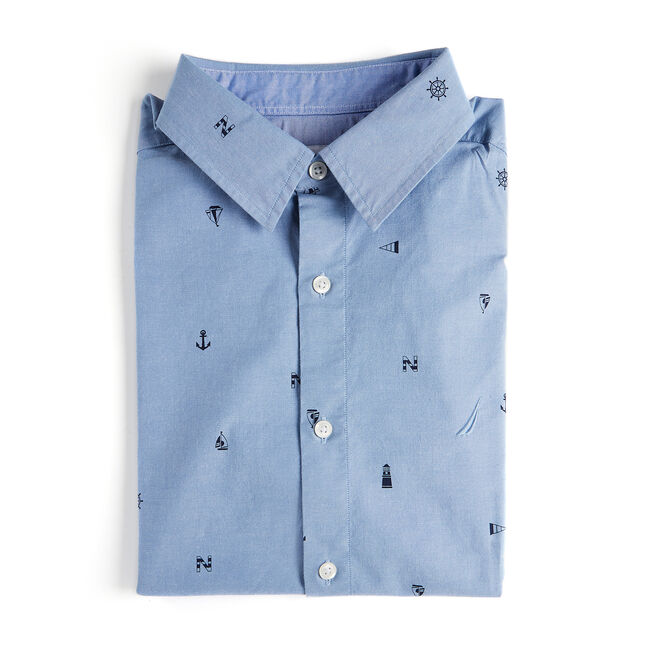 Short Sleeve Classic Fit Oxford Shirt in Anchor Print,Riviera Blue,large