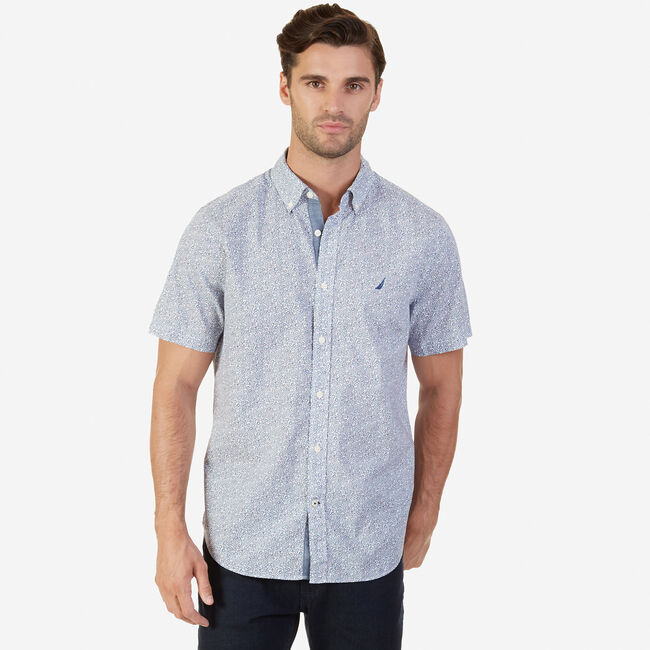 Classic Fit Printed Short Sleeve Shirt,Estate Blue,large