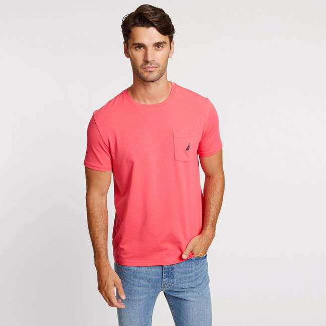 Short Sleeve Crewneck Pocket T-Shirt,Melonberry,large