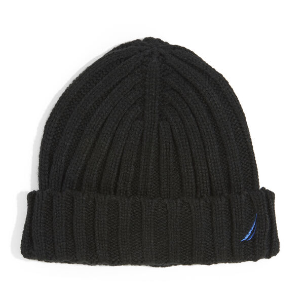 RIBBED KNIT CUFF HAT - True Black