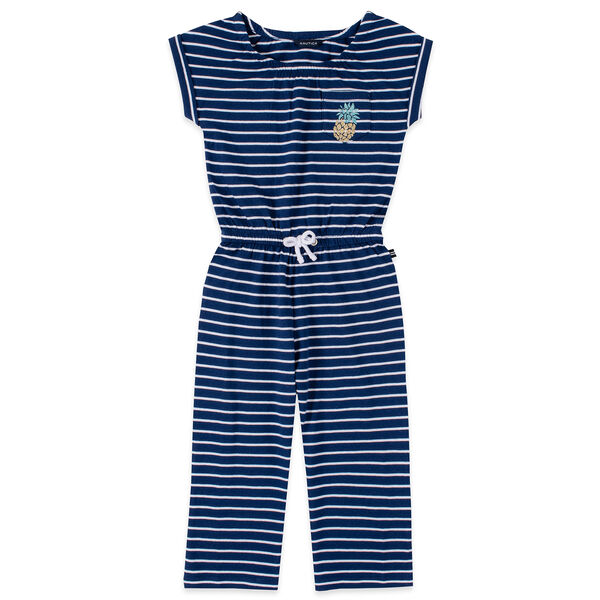 GIRLS' STRIPED GLITTER-EMBELLISHED POCKET CROPPED JUMPSUIT (8-20) - Aqua Isle