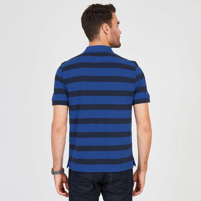 Classic Fit Short Sleeve Striped Polo,Monaco Blue,large