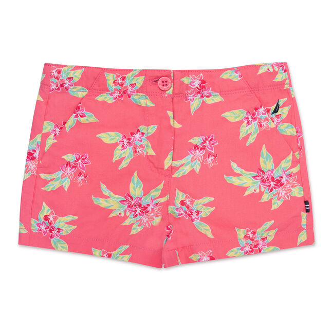 Girls' Tropical Flower Shorts,Firey Red,large