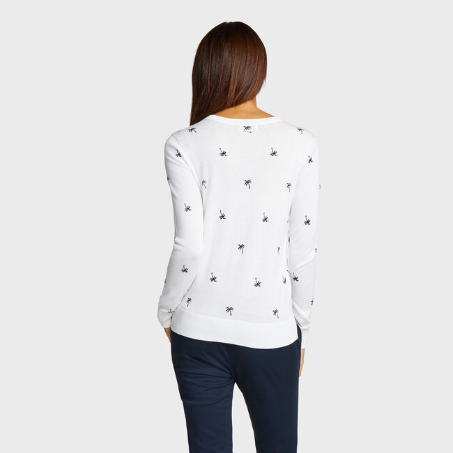 Classic Fit Cotton & Modal Sweater in Palm Pattern,Bright White,large