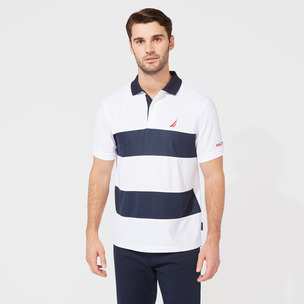CLASSIC FIT PERFORMANCE NAVTECH STRIPE POLO - Bright White