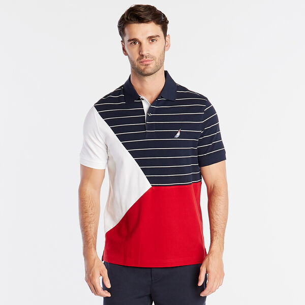 CLASSIC FIT POLO IN PIECED STRIPE & COLORBLOCK - Navy