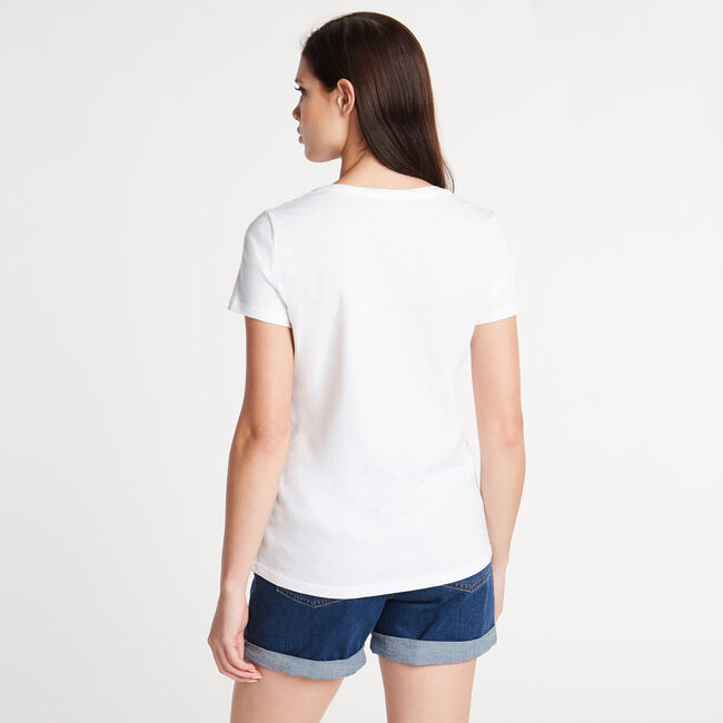 Classic Fit V-Neck Graphic Tee,Bright White,large