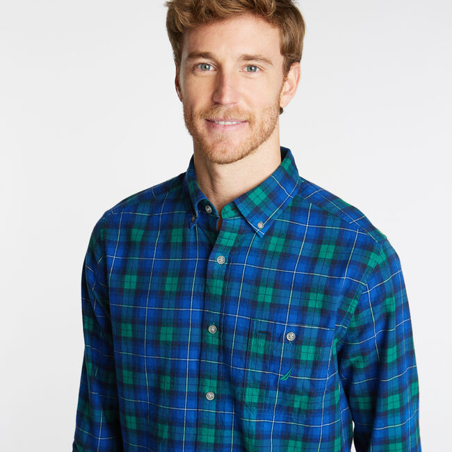 CLASSIC FIT BRUSHED TWILL SHIRT IN PLAID,Spruce,large