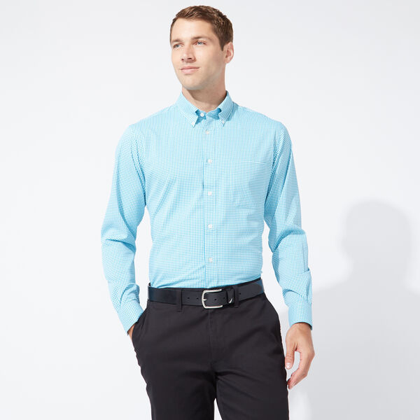 CLASSIC FIT PERFORMANCE TECH SHIRT IN TURQUOISE CHECK - Anchor Blue Heather
