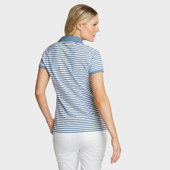 Stripe Classic Fit Polo,Sport Navy,large