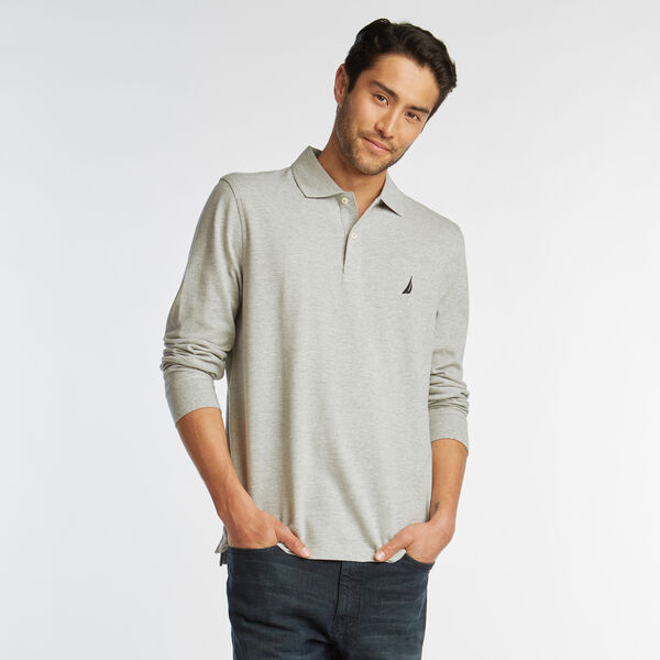 CLASSIC FIT LONG SLEEVE MESH POLO - Grey Heather
