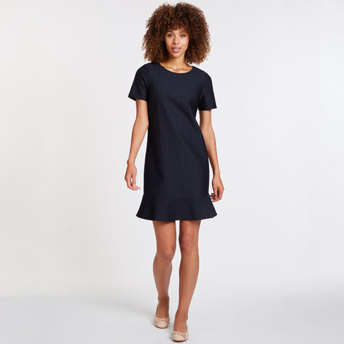 Pinstripe Flounce Hem Dress - Deep Sea