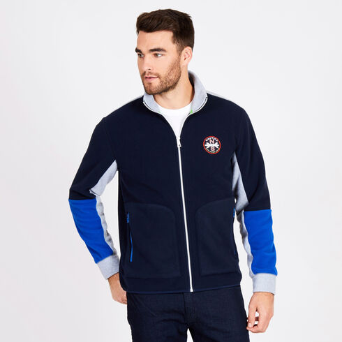 Full-Zip Colorblock Knit Jacket - Navy