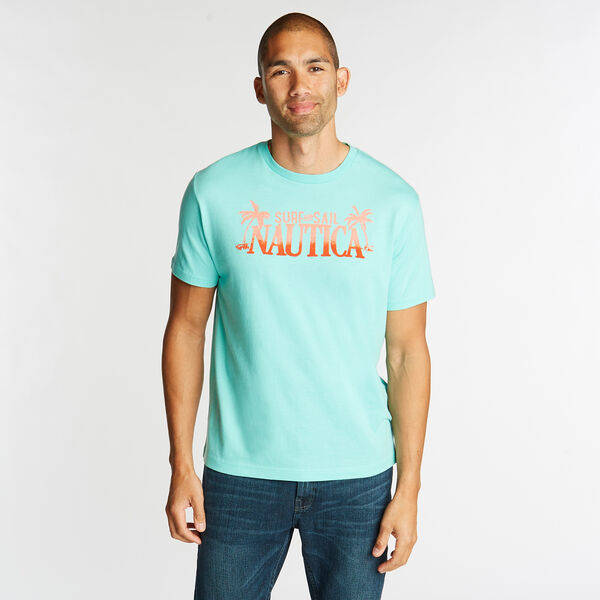 JERSEY T-SHIRT IN SURF & SAIL GRAPHIC - Pool Side Aqua