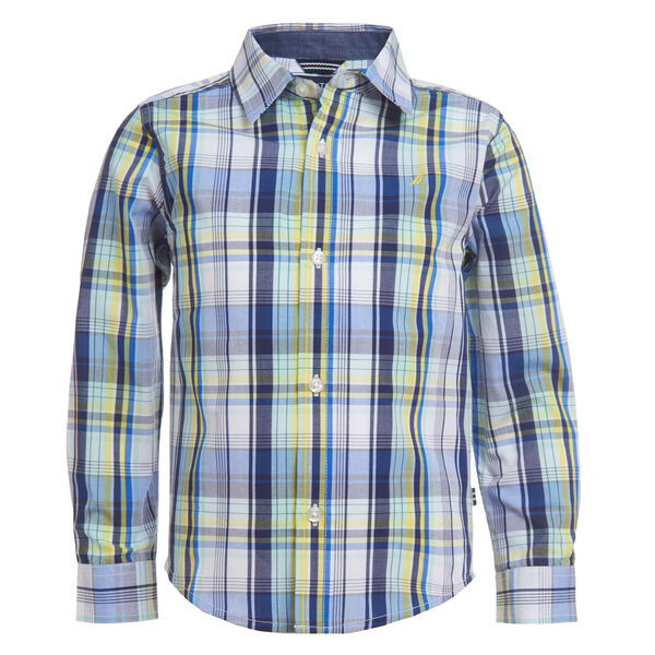 BOYS' PLAID WOVEN SHIRT (8-20) - True Navy