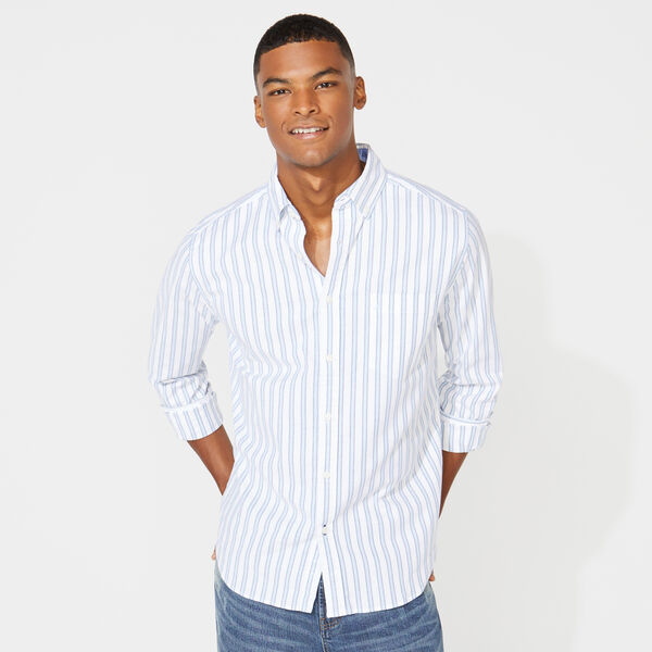 CLASSIC FIT LONG SLEEVE STRIPED OXFORD SHIRT - Bright White